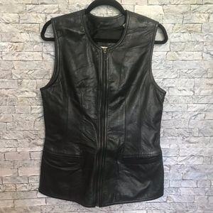 Lord & Taylor VTG Black 100% Leather Zipper Vest